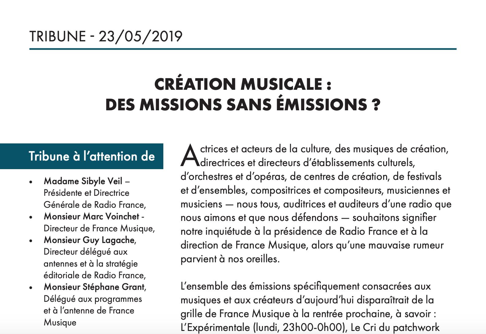 Maintien de la musique de création sur France Musique