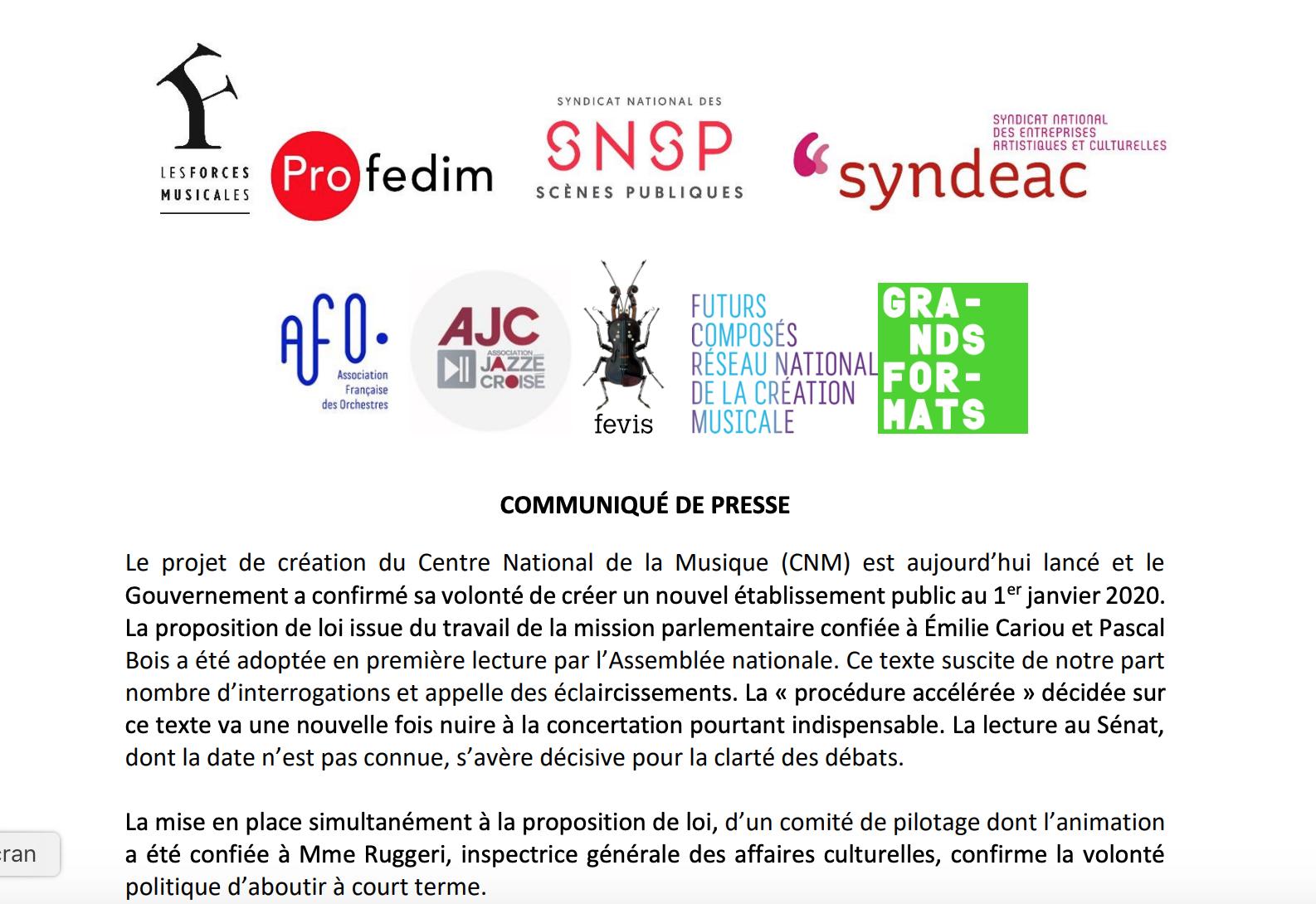 Communiqué de presse inter-fédération – une contribution sur le Centre National de la Musique