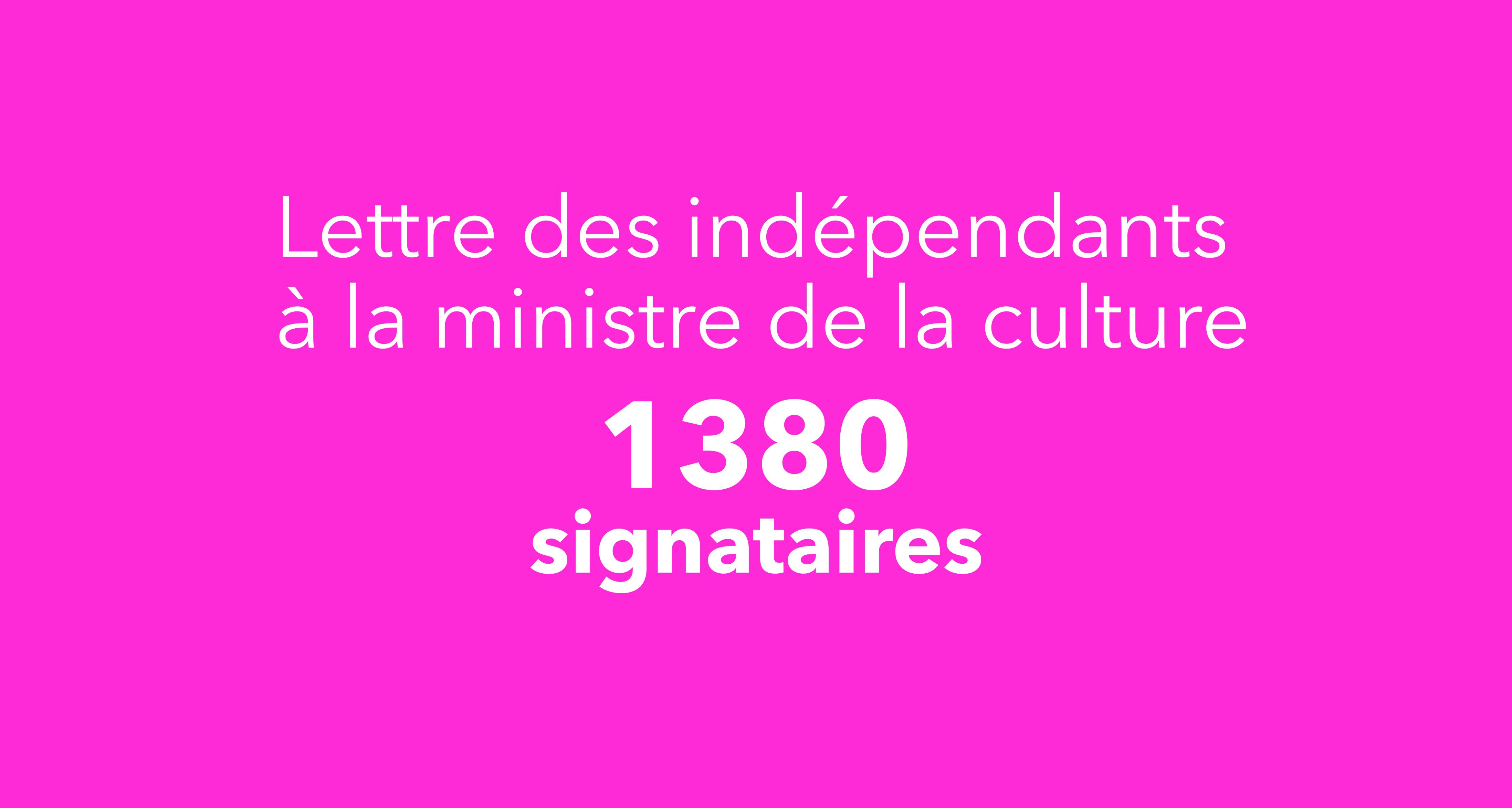 Lettre des indépendants à la ministre